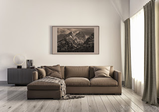 Photograph of Cramer Imaging's fine art photograph 'Misty Mountains' on the wall of a brown living room