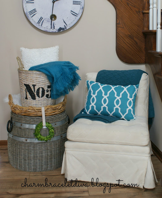 thrift store basket turned into chic stenciled home decor accessory