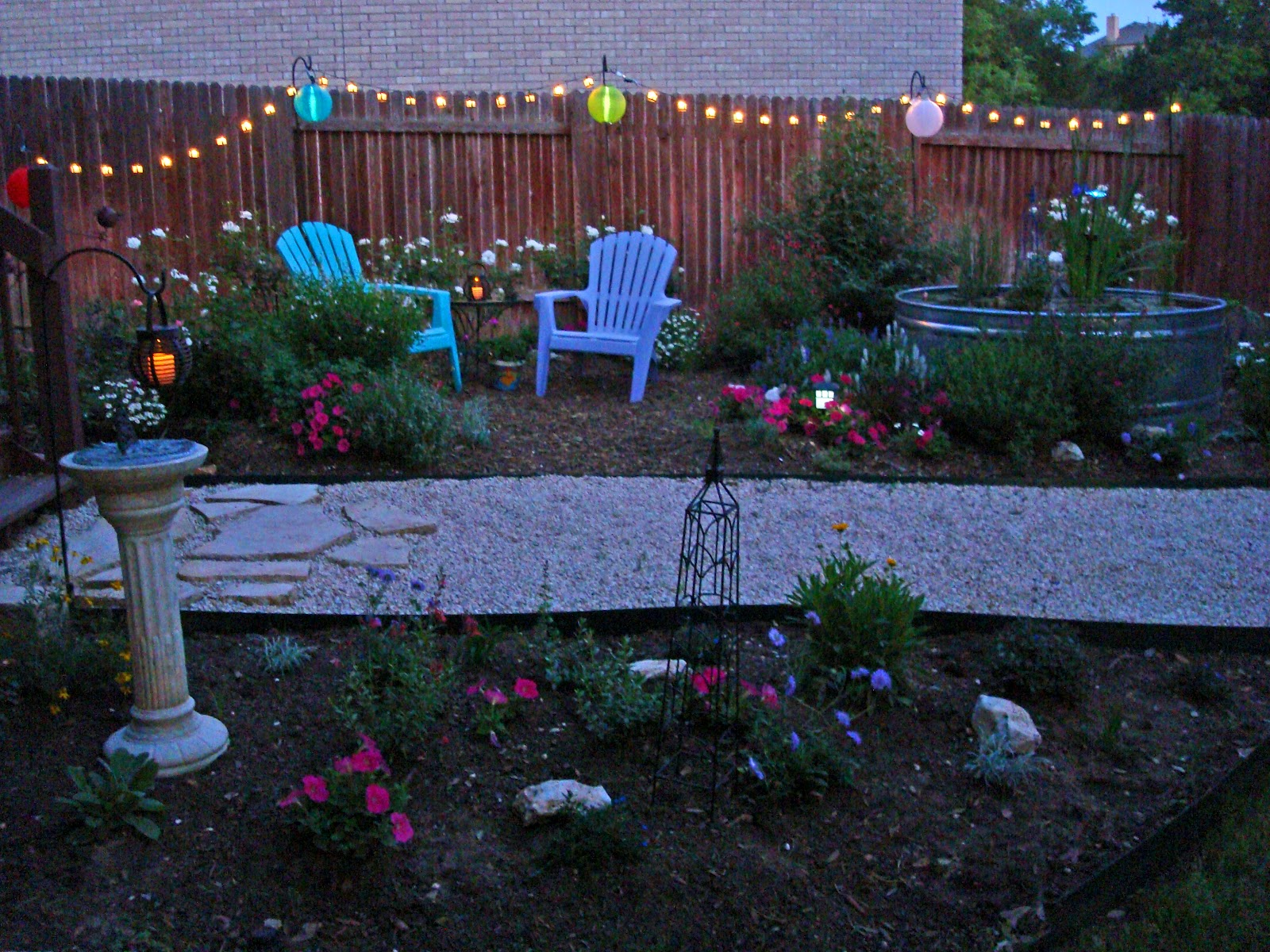 Garden Path Wanderings: Party lights are hung... where's ...