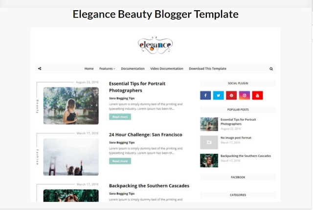 Elegance Beauty Blogger Template