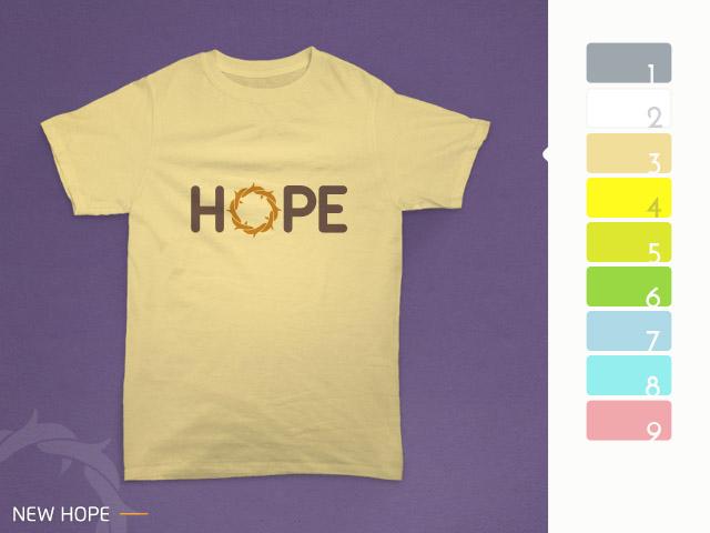 desain kaos hope diterapkan pada kain warna cream
