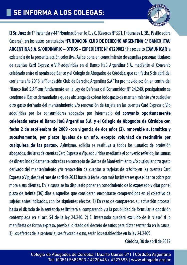 Club de Derecho c/ Banco Itaú - Comunica existencia de acción colectiva