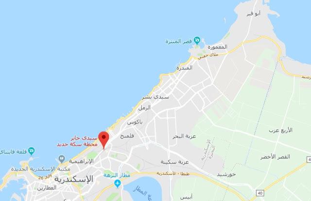 خريطة محطات قطار ابو قير الاسكندرية Abu Qir Alexandria Train Map