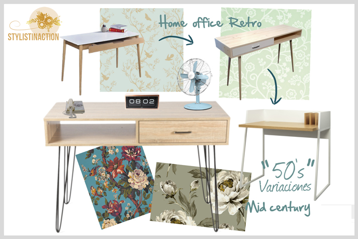home office portada post by stylistinaction - Mid century con wall paper de flores - fuente foto www.ikea.com
