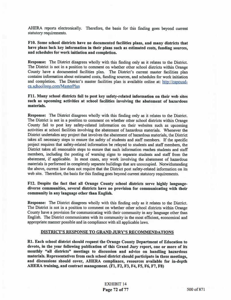 Public Disclosure Capistrano Unified School District