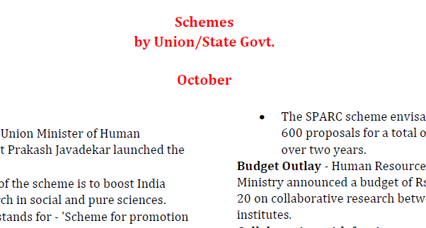 Important Schemes launched by government