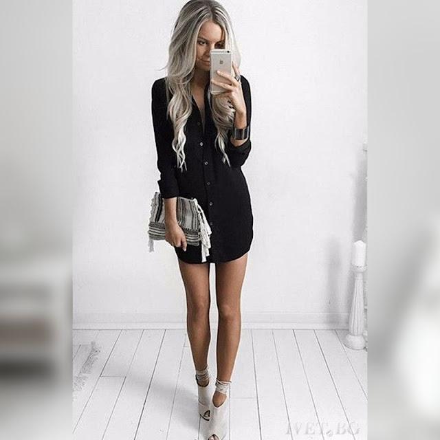 Μακρυμάνικο μαύρο μπλουζοφόρεμα DELINA BLACK