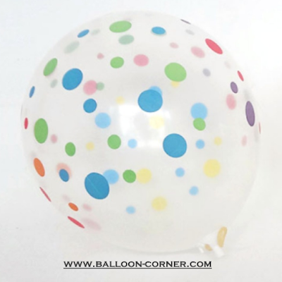 Balon Latex Transparan Polkadot Random Colour