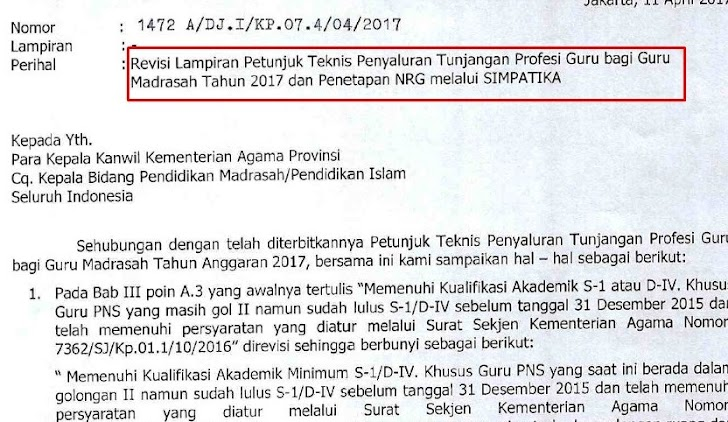 Juknis TPG Madrasah Tahun 2017 (Revisi) Beserta Penetapan NRG Melalui Simpatika