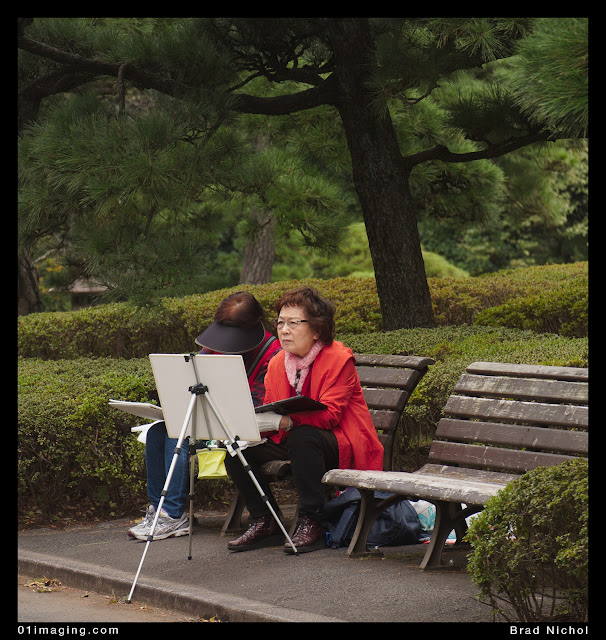 Painter in East garden imperial palace grounds, tokyo, japan,woman with easel in red top.