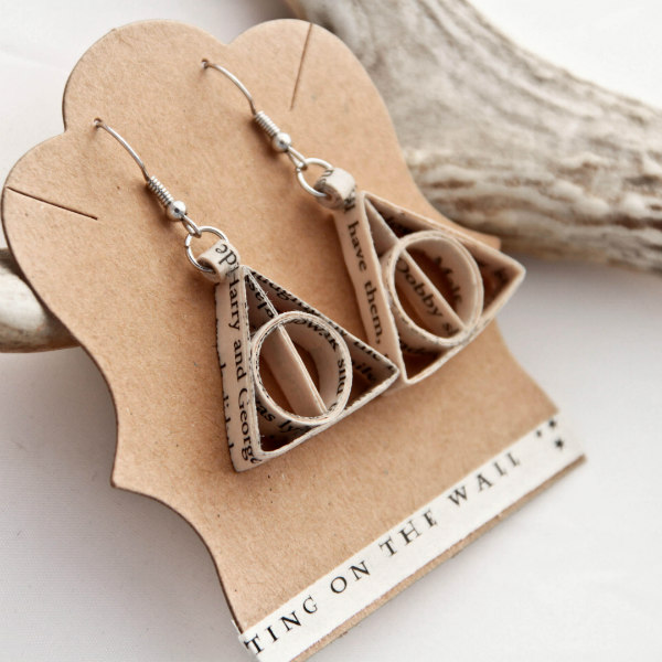 pair of triangular book page earrings with silver earwires