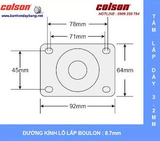 Kích thước Bánh xe đẩy có khóa Colson Mỹ càng nhựa 3 inch | STO-3856-448BRK4 sử dụng ổ bi