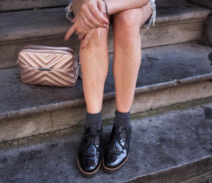 patent tassel brogues with glitter socks