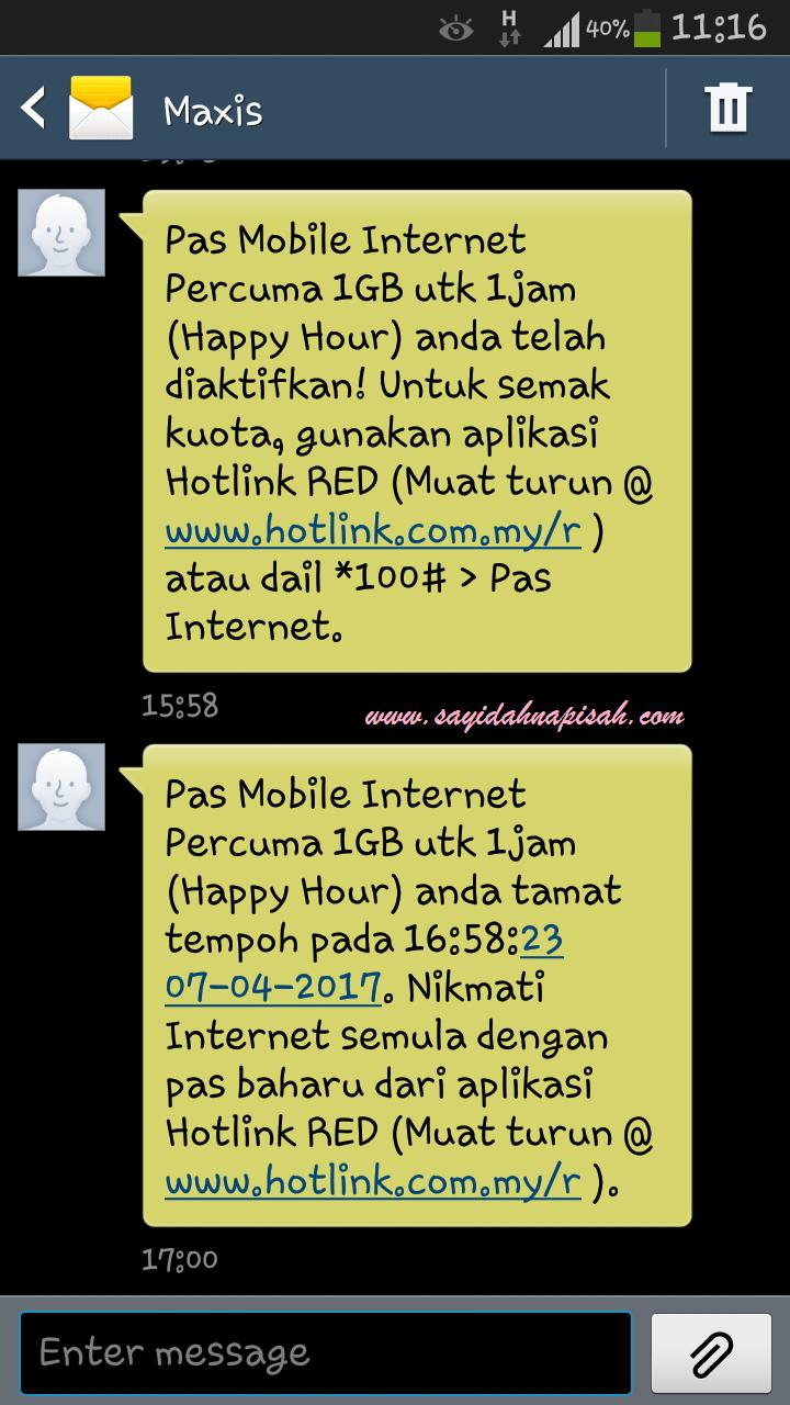pas mobile internet percuma 1gb untuk 1 jam (happy hour)