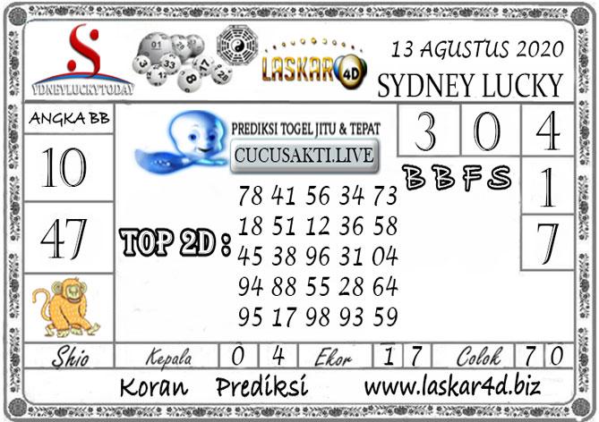 Prediksi Sydney Lucky Today LASKAR4D 13 AGUSTUS 2020