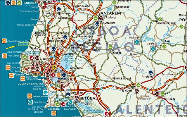 Mapa rodoviário de localização de Ericeira
