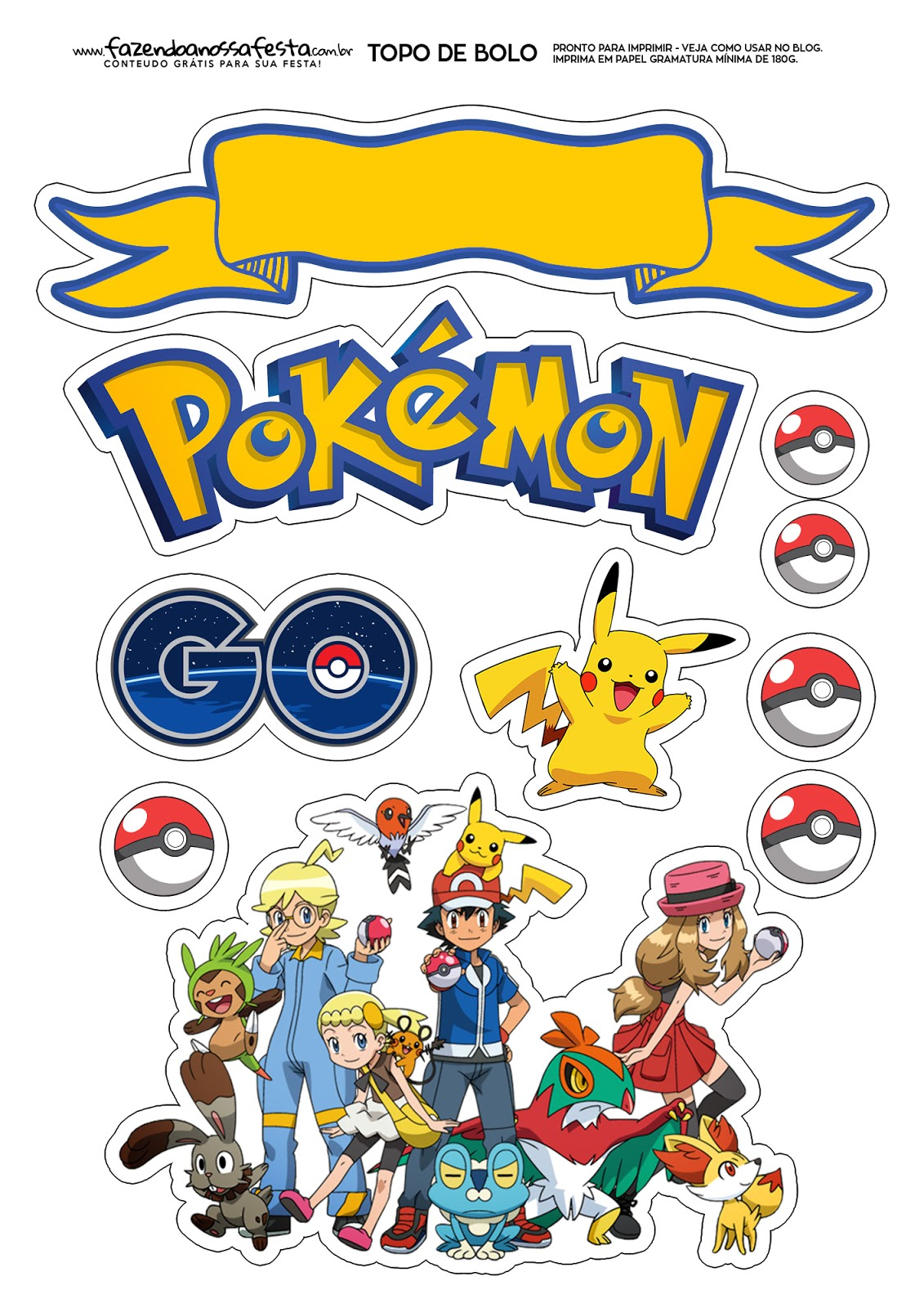 graphic relating to Pokemon Posters Printable known as Pokemon: Absolutely free Printable Cake Toppers. - Oh My Fiesta! for Geeks