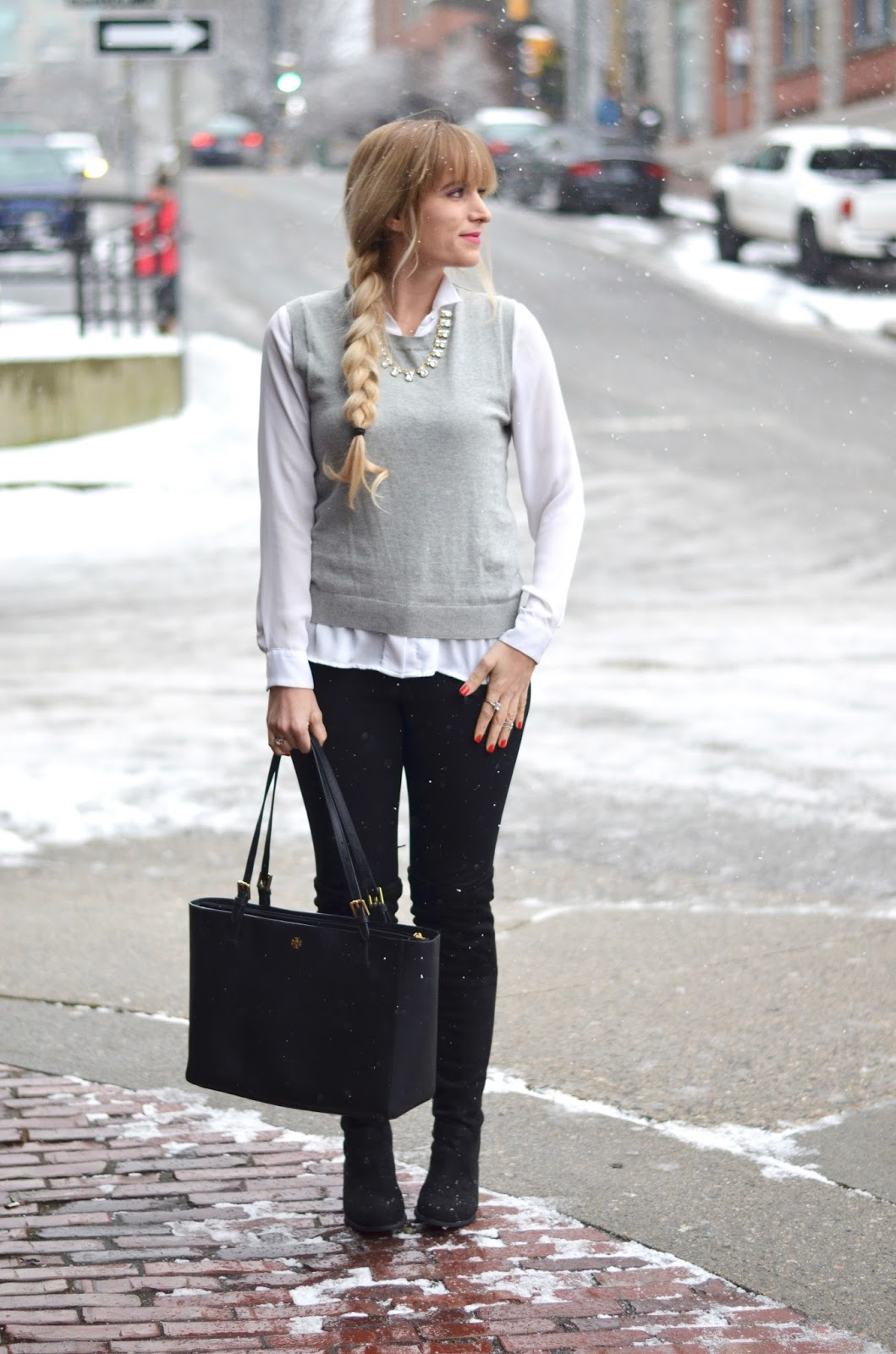 sweater vest outfit idea