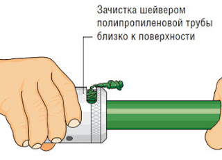 Зачистка шейвером полипропиленовой трубы