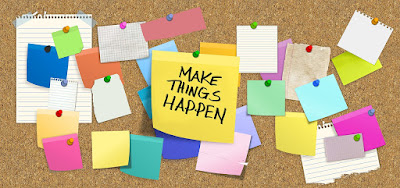 "A drawing of a pinboard covered in blank piece of paper and sticky notes, with a larger central note reading ""MAKE THINGS HAPPEN""."