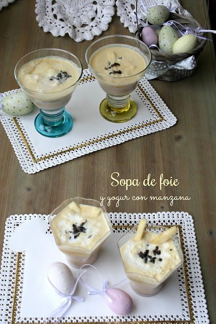 Sopa de foie , yogur con manzana