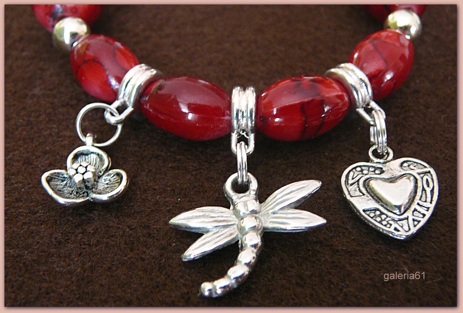 bransoletka czerwona i kolczyki czerwone, ważka