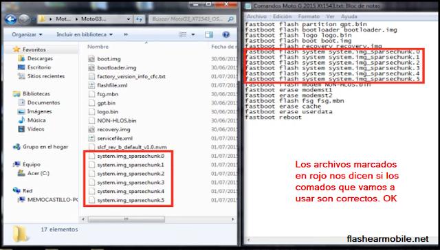 Archivos y comandos para flashear Moto G3