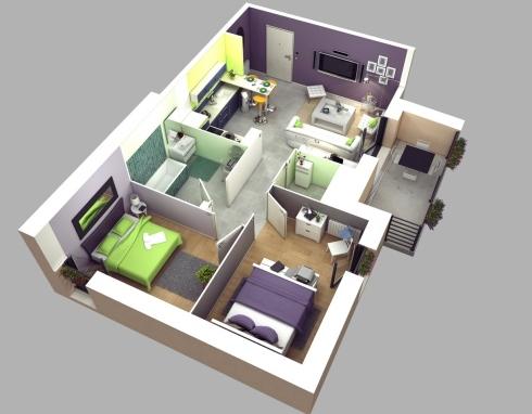 bangun & properti purwodadi: desain dalam rumah 2 pintu