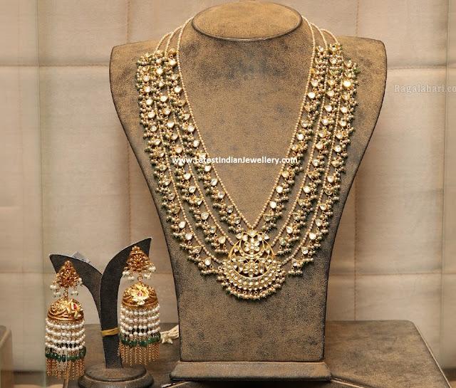 Jadau Layered Necklace Long Jhumkas