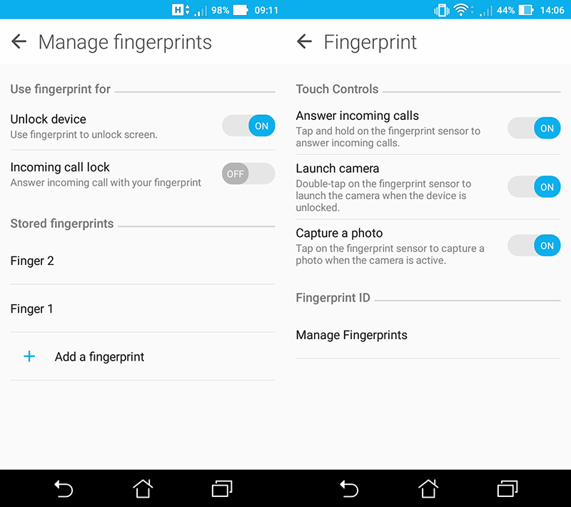 Fingerprint scanner options