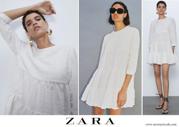 Princess Leonor wore ZARA textured weave dress