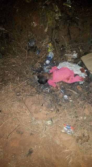 Photos: Vehicle crushes newborn baby dumped in the middle of a road in Benin, Edo State