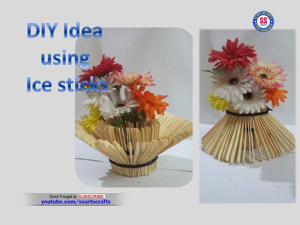 Popsicle Flower vase on ice cream sticks crafts, ice cream sticks chair, ice cream sticks lamps,
