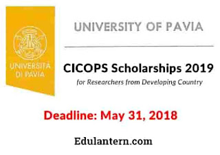 CICOPS Scholarships 2019 at University of Pavia, Italy for Researchers from Developing Country