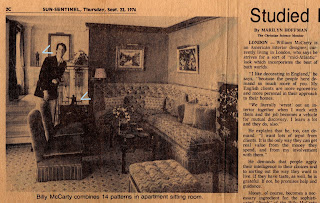 An old newspaper cutting scanned from the Sun-Sentinel, Thursday, September 23rd, 1976 and showing an interior designer called Billy MaCarty with a couple of figures, probably bronzes, in the background.