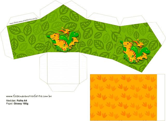 Caja con Forma de Casa de Fiesta de Dinosaurios .