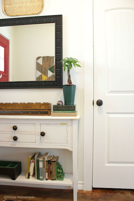 Add a shelf to a square legged console table- House Homemade