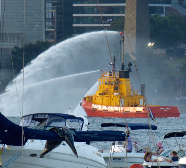 port authority boat spraying water in Sydney HArbour