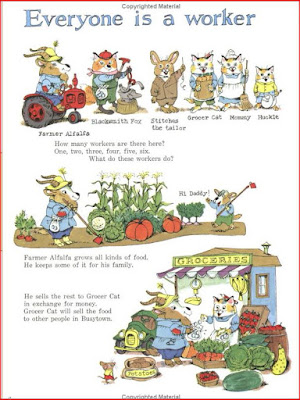 sample page from the book showing farmer Alfalfa in Everyone is a Worker story