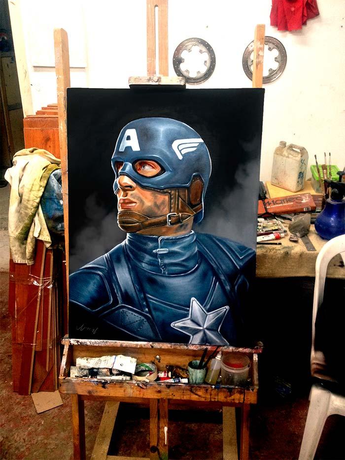 Pintura, Capitán América de Diego Andrés Maldonado Martínez