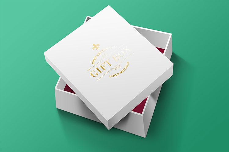 Realistic Free PSD Gift Box Mockup