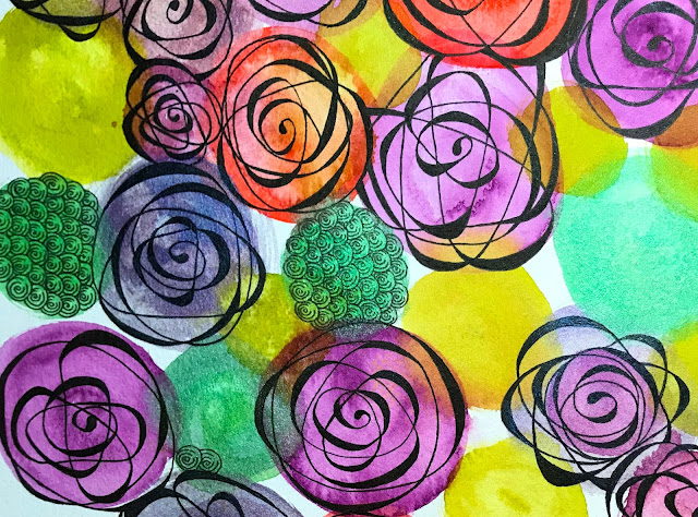 Cézanne Mould-Made watercolor paper with Daniel Smith watercolor roses close up
