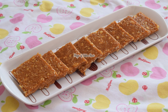 Coconut & Peanuts Chikki - Nariyal aur Sing ki Chikki - Magic of Indian Rasoi -Priya R