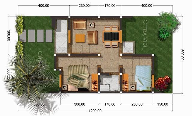 Denah Rumah Minimalis Ukuran 12 X 6 REFERENSI RUMAH