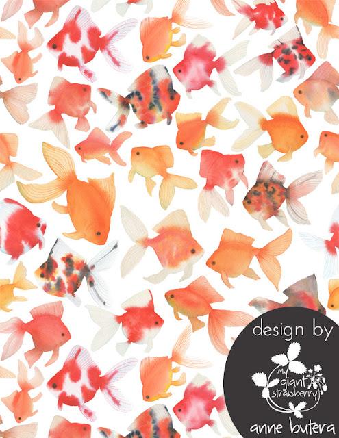 goldfish, watercolor goldfish, goldfish pattern design, repeat pattern design, fabric design, Anne Butera, My Giant Strawberry