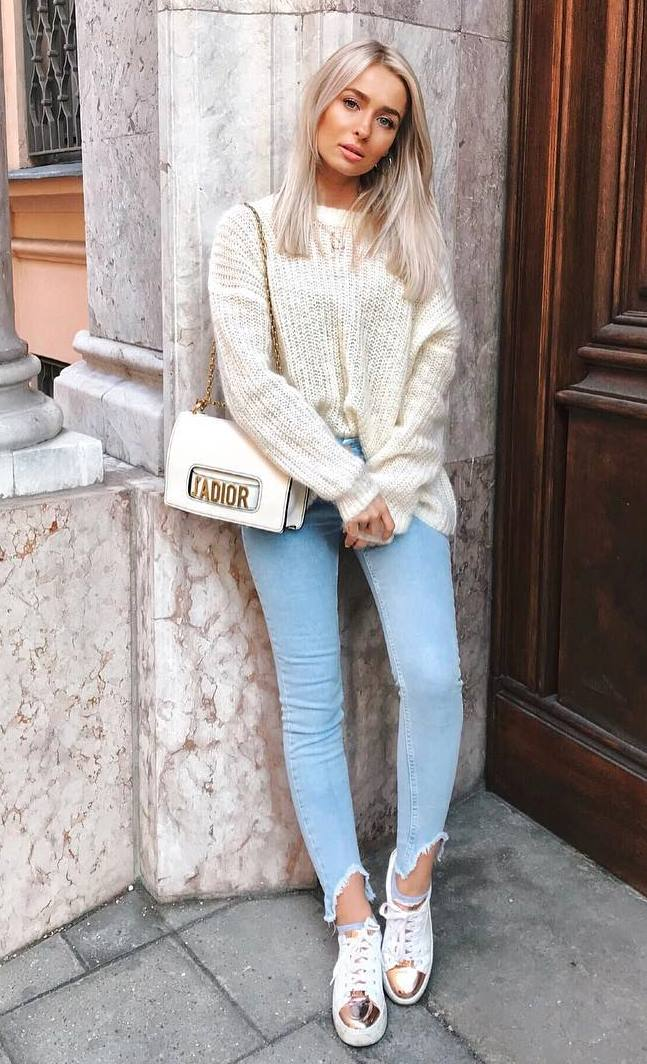 ootd | knit sweater + bag + skinny jeans + sneakers