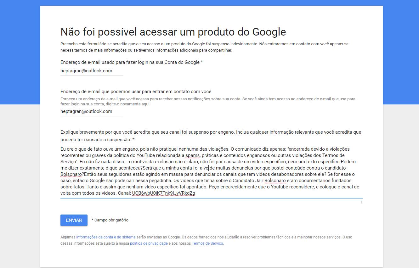 Youtube - Canais com vídeos contra o Bolsonaro estão sendo