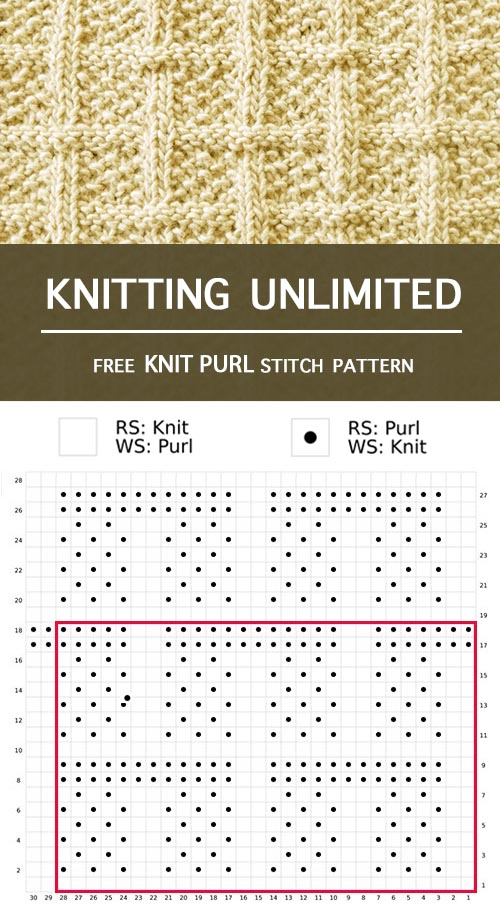 Knitting Unlimited - Lattice Knit Purl Pattern. Free written instructions and chart