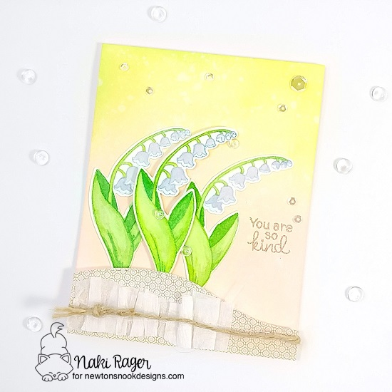 Lily of the Valley Flower Card by Naki Rager | Little Lilies Stamp Set by Newton's Nook Designs #newtonsnook #handmade