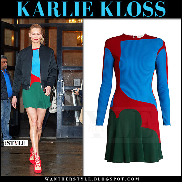Karlie Kloss in blue color-block mini dress esteban cortazar what she wore april 2017